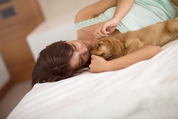Puppy Cocker Spaniel with female owner cuddle