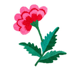 Embroidery pattern of flowers handmade smooth thread of floss on white background isolate with copy space flat view from above