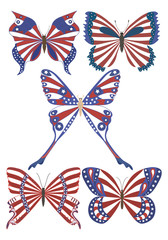 USA national flag on butterfly.