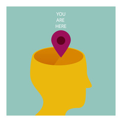 YOU ARE HERE. THE HUMAN BEING IS IN THE MIND, IN THE KNOWLEDGE.