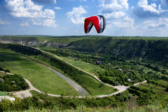 Leaving paraglider in the Old Orhei, Moldova