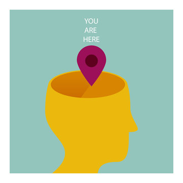 YOU ARE HERE. THE HUMAN BEING IS IN THE MIND, IN THE KNOWLEDGE. Serie of metaphorical concepts.