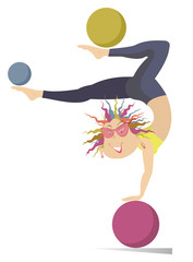 Funny young woman with multicolor hair standing legs up on the ball and doing exercises with the balls by legs isolated on white illustration