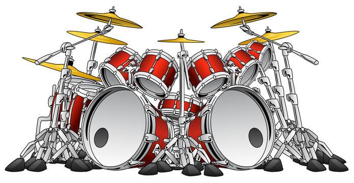 Huge Hard Rock Drum Set Musical Instrument Vector Illustration