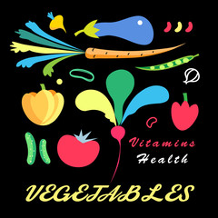 Vector bright set of vegetables
