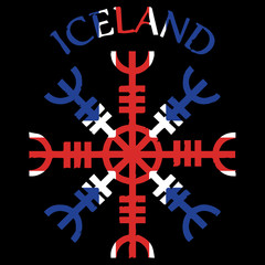 Helm of awe, helm of terror, Icelandic magical staves, Aegishjalmur, with Iceland flag