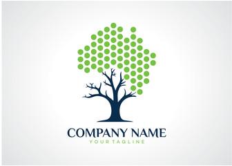 Dot Tree Logo Template Design Vector, Emblem, Design Concept, Creative Symbol, Icon