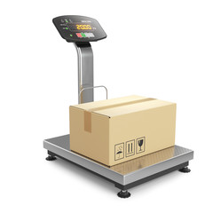 Weighing of postal parcel on scales 3d