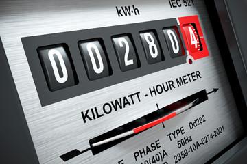 Electricity kilowatt hour meter 3D