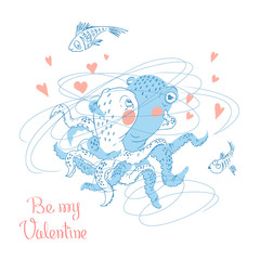 Hand drawn Valentine's Day greeting card. Cute couple of octopuses hugs