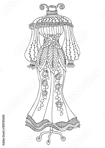 Women S Lace Dress Hand Drawn Illustration For Coloring Page