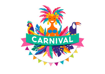 Brazilian Carnival poster, banner with colorful party elements - masks, confetti, toucan, parrot and splashes.