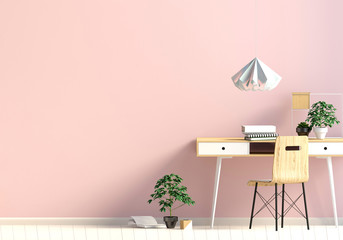 Modern interior in the style scandinavian, a place for study. 3D illustration.wall mock up