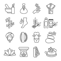 Spa salon icons set, outline style