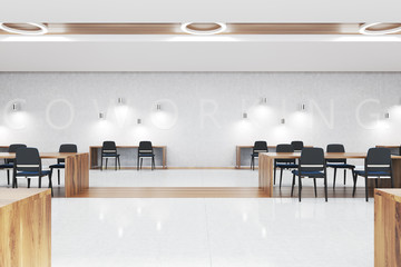 White and wooden coworking