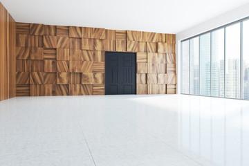 Wooden empty hall interior