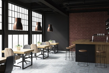 Black and brick cafe interior side