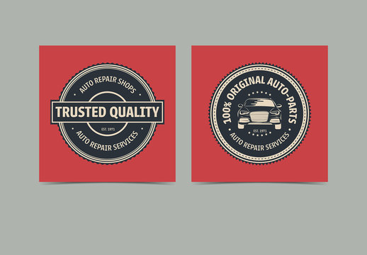 Auto Repair Service Labels Layout 2
