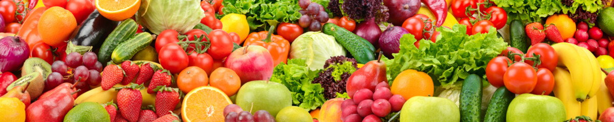 Fotorolgordijn Vruchten Panoramic collection healthy fruits and vegetables.