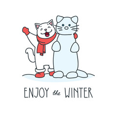 Enjoy the winter. Doodle vector illustration of funny white cat making snowman