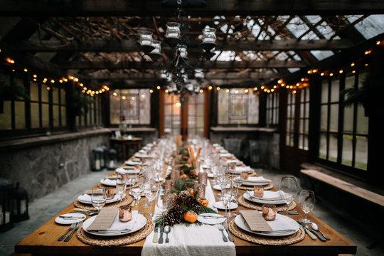 Restaurant table set for fancy dinner