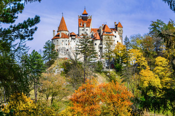 Bran Castle, Brasov, Transylvania, Romania. Autumn landscape with fortress at the border between Wallachia and Transylvania.It is also known for the myth of Dracula.