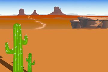 Desert Landscape and Cactus