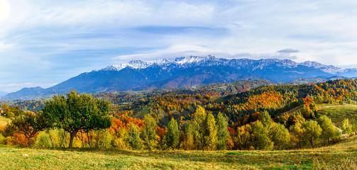 Pestera village,Brasov,Romania: Autumn landscape of the Bucegi mountains in the autumn collors
