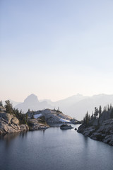 mountain lakes in hazy sunset