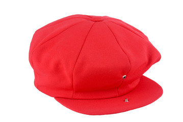 Red Colored Newsboy Cap with Open Snap on Brim