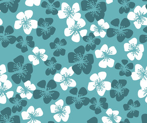 Fresh simple minimal floral vector seamless pattern. Spring blossom motif with sakura flowers for wedding projects, fabric and background, wrapping paper.