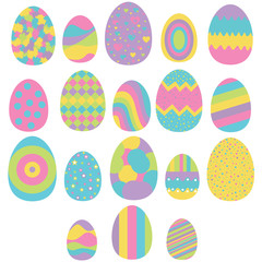 Set of eighteen easter eggs isolated on white