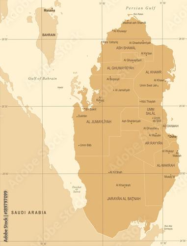 Qatar Map - Vintage Detailed Vector Illustration\