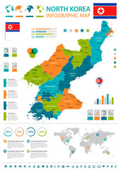 North Korea - infographic map and flag - Detailed Vector Illustration