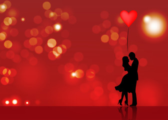 Romantic silhouette of loving couple. Valentines Day 14 February. Happy Lovers. Vector illustration isolated or red blurry background
