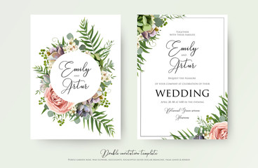 Floral Wedding Invitation elegant invite, thank you, rsvp card vector Design: garden pink, peach Rose flower, white wax, succulent, cactus plant, green Eucalyptus tender greenery, berry trendy bouquet Wall mural