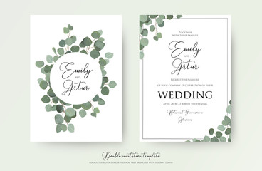 Wedding floral watercolor style double invite, invitation, save the date card design with cute Eucalyptus tree branches with greenery leaves decoration. Vector natural elegant, rustic luxury template Wall mural