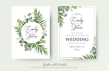 Wedding Invitation, floral invite thank you, rsvp modern card Design: green tropical palm leaf greenery eucalyptus branches decorative wreath & frame pattern
