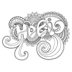 Coloring page word Holi,to the Indian holiday on background mand