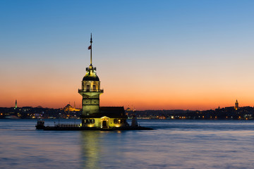 Sunset in the  Maiden Tower , great colors in istanbul , Uskudar-Salacak- Turkey