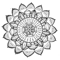 mandala hand-drawn on paper then digitized