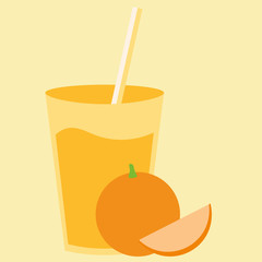 Healthy natural cocktail drink with sweet orange fruit. Fresh organic citrus smoothie.
