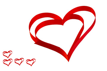 """isolated heart of red ribbon on a white background for the  Valentine""""s holiday"""