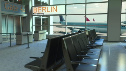 Berlin flight boarding now in the airport terminal. Travelling to Germany conceptual 3D rendering