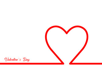 Valentine's Day with red heart, red line style , vector isolated or white background