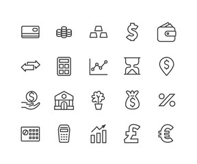 Simple Set of Finance Related Vector Line Icons. Editable Stroke. 48x48 Pixel Perfect.