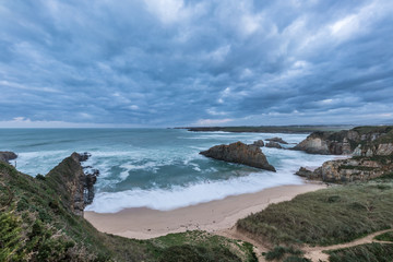 the sea crashes hard on the coasts of Galicia, with beautiful impressive waves, worthy of contemplation