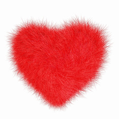 Fur puffy red heart isolated on white background. Love and Valentine day concept. 3D illustration.