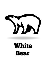 White bear vector icon. It's good for logo, print, emblem, badge, label and etc.
