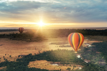 Canvas Prints Balloon Hot Air Balloon Ride Over Masai Mara